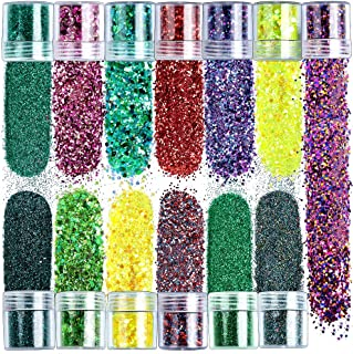 Chunky Glitter, YGDZ 13 Colors Body Face Hair Eye Holographic Cosmetic Festival Glitter, Iridescent Flakes Makeup Glitter Sequins