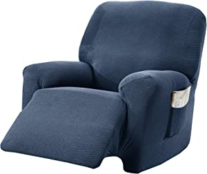 Textured Stretch Recliner Slipcover. Form Fit, Slip Resistant, Strapless Slipcover. Knitted Jacquard Stretch Arm Chair Slipcover. Theo Collection (Recliner, Navy)