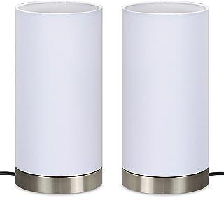 """Trango 2 pack Lampe de table, lampe de chevet, lampe de bureau TG2018-29W I""""WHITE"""" avec abat-jour en tissu blanc Ø 120 mm,..."""