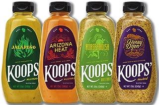Koops' Sweet & Heat Mustard Variety Pack, 12 oz. Bottle, 4-Pack