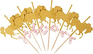 Glitter Gold Carousel Horse Cupcake or Cake Toppers Party Favors (12-Pack)