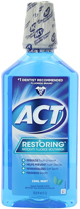 辞書中性干し草Chattem ACT Restoring Anticavity Flouride Mouthwash Cool Splash Mint 33.8 fl.oz ?????