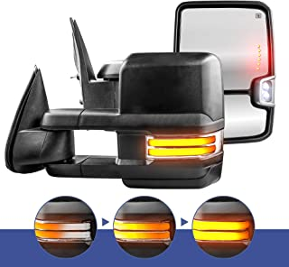 MOSTPLUS Power Heated Towing Mirrors for Chevy Silverado Suburban Tahoe GMC Serria Yukon 1999-2002 w/Sequential Turn light, Clearance Lamp, Running Light(Set of 2)