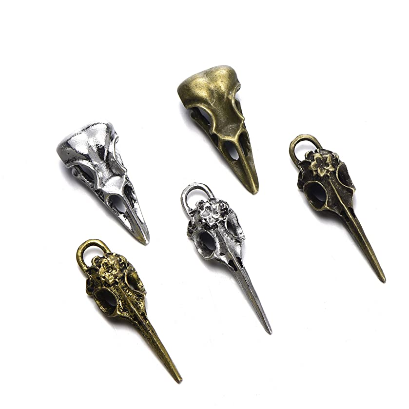 zhangdongDIY 15pcs Mix Style Antique Alloy Phantom Raven Bird Skull Head Pendant Charms Necklace Finding For Jewelry Making
