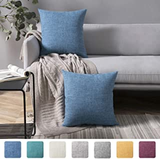 Azume Decorative Throw Pillow Covers Set of 2 Linen Textured Cushion Cover for Couch, Sofa, Chair, Living Room, 18x18 inch, Sky Blue