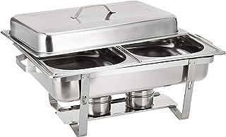 Raj Rectangular Chafing Dish Double 2 X 4 Liter Pans, 22.5 x 11.5 x 14 cm, Silver-VCD002,Silver