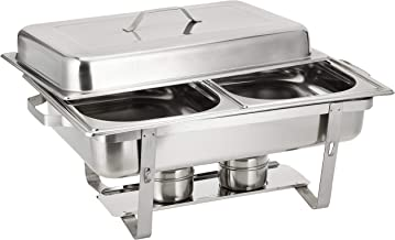 Raj Rectangular Chafing Dish Double 2 X 4 Liter Pans, 22.5 x 11.5 x 14 cm, Silver-VCD002,Stainless Steel