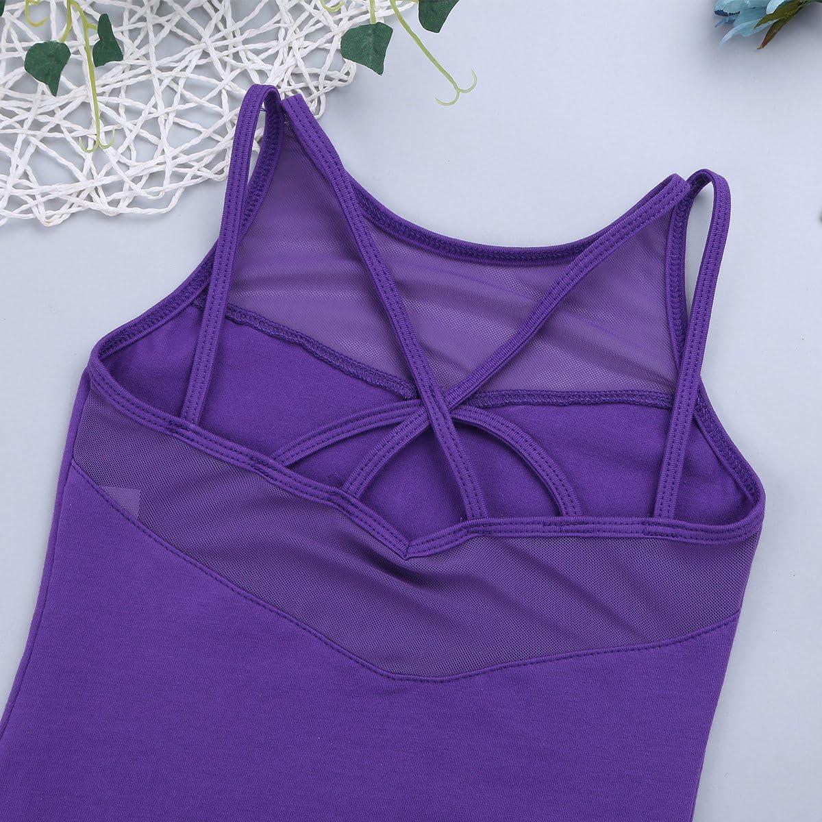 JEATHA Kids Girls Sleeveless Basic Mesh Splice Ballet Leotard Criss Cross Back Athletic Yoga Sports Bodysuit