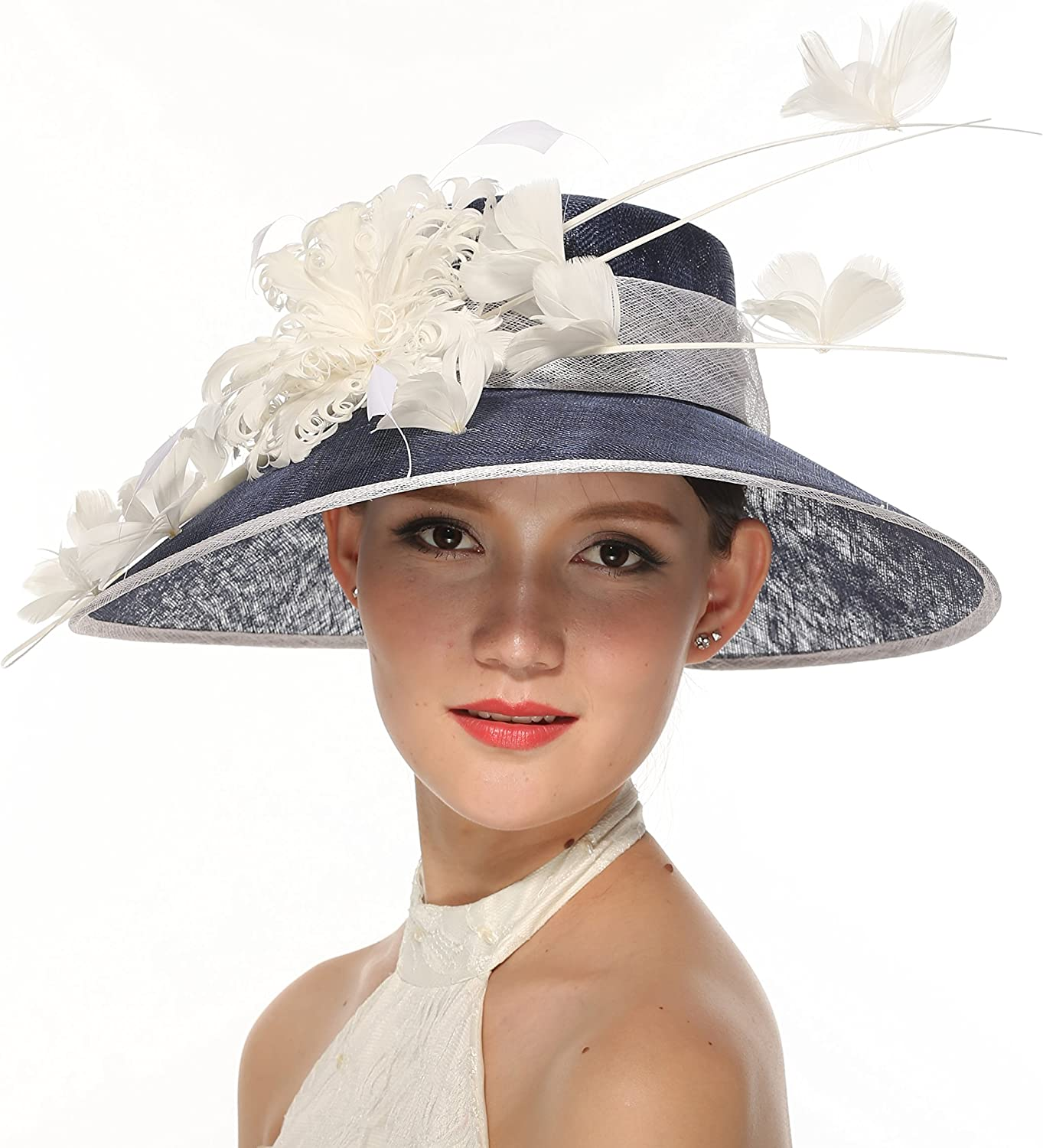 16  Wide Brim Sinamay Hat With Feather Flowers For Church,Eastern,kentukey Derby Navy bluee With White