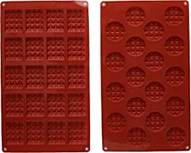 MANSHU 18-Cavity Silicone Mini Rectangle and Round Waffle Mould,Waffle Cookie Mold, Chocolate Mould,Candy Mould,Silicone Baking Mold, 2pcs!
