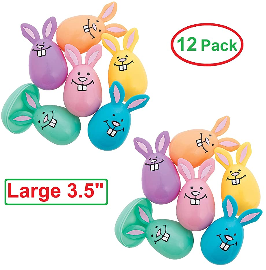 Bunny Shaped Plastic Easter Eggs(12 Pack) Pastel Egg Hunt Supplies, Empty Surprise Eggs for Toys, Candy or Stickers, Party Favors for Kids and Adults, Goody Basket Fillers For Schools, Assorted Colors