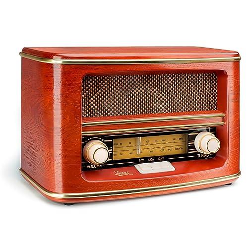 Dual NR 1 - Radio de estilo antiguo de 1.5W (sintonizador AM/FM, dial analógico, caja de madera, control de volumen), Rojo [importado]