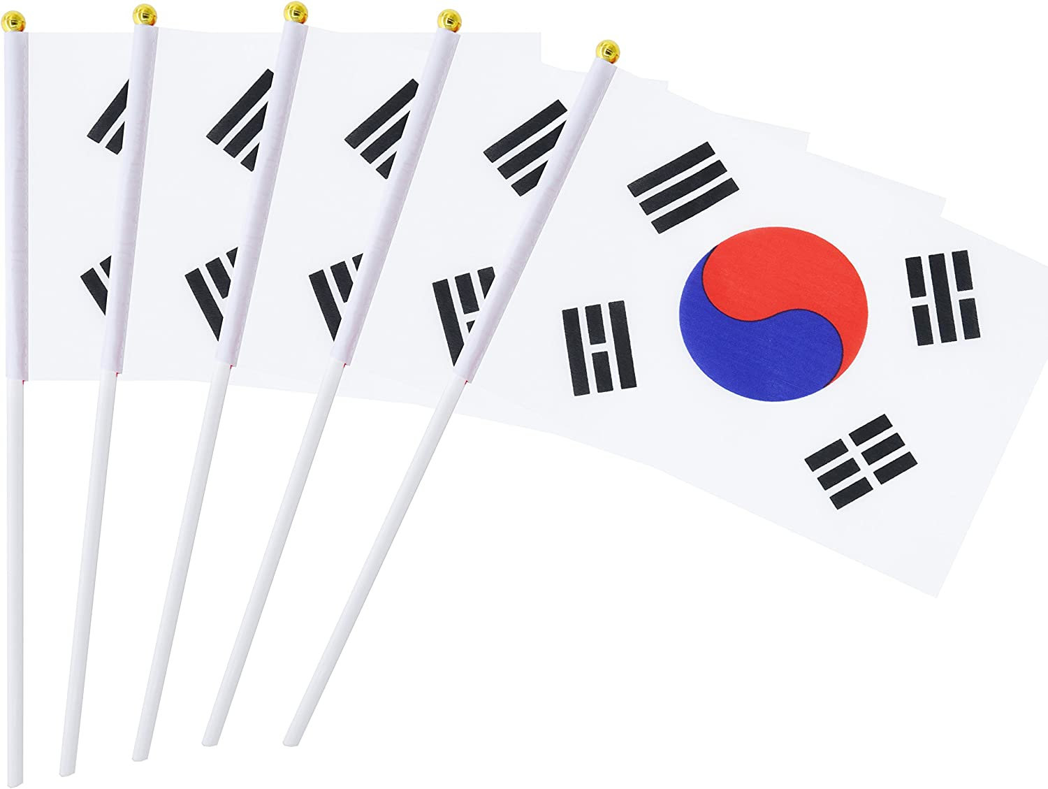 Hand Held Korea Flag Korean Flag Stick Flag Mini Flag 50 Pack Round Top National Country Flag, Party Decorations Supplies For Parades,World Cup,Sports Events,International Festival (8.2