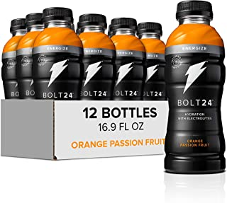 Bolt24 Energize, Fueled by Gatorade, Orange Passion Fruit, Hydration with Caffeine and Electrolytes, 16.9 ounces (Pack of 12)