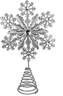 Ornativity Glitter Snowflake Tree Topper - Silver Sparkling Gem Christmas Tree Decoration