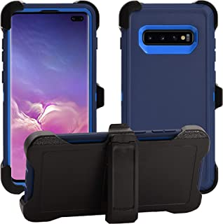 AlphaCell Cover Compatible with Samsung Galaxy S10 Plus/S10+ (Only)   Holster Case Series   Military Grade Protection with Carrying Belt Clip   Protective Drop-Proof Shock-Proof   Navy Blue/Blue