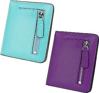 AINIMOER Women Leather Wallet RFID Blocking Small Mini Bifold Zipper Pocket Card Case Sea Blue and Dark Purple