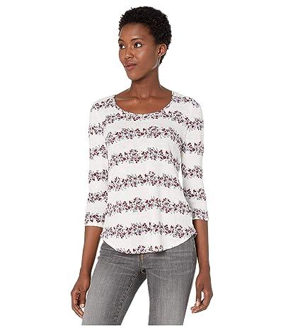 Lucky Brand 3/4 Sleeve Floral Stripe Scoop Neck Tee (Cream Multi) Women