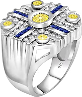 Men's Sterling Silver .925 Octagonal Ring with Yellow and Blue Cubic Zirconia CZ Stones