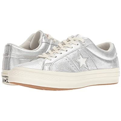 Converse One Star Heavy Metallic Leather Ox (Silver/Egret/Egret) Shoes
