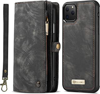 Simicoo iPhone 11 Leather Wallet Detachable Zipper Case 11 Card Slots Holder iPhone 11 Flip Magnetic case Handle Wrist Strap Shockproof Pocket Handbag for Man Woman (Black)