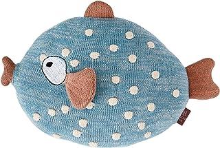 OyOy Mini Little Finn Cushion tygdjur fisk – söt baby barn kudde gosig kudde och svampkudde blå – bomull 23 x 30 x 10 cm