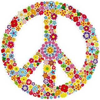 Peace Sign Symbol Hippie Love Floral 60's Window Sticker Decal (4.5