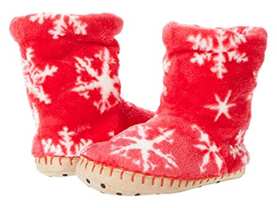Hatley Kids Holiday Snowflakes Fleece Slippers (Toddler/Little Kid) (Red) Girl