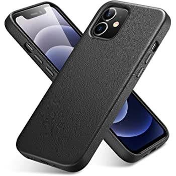 ESR Premium Real Leather Compatible with iPhone 12 Mini [Slim Full Leather] [Supports Wireless Charging] [Scratch-Resistant] Protective Case for iPhone 12 Mini 2020, 5.4-Inch – Black