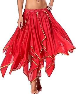 Seawhisper Chiffon Bauchtanz Rock Orientalische Kostüme Damen Seitennaht glänzende Kante