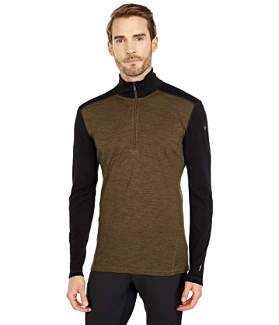 Smartwool Merino 250 Base Layer 1/4 Zip (Military Olive Heather/Black) Men