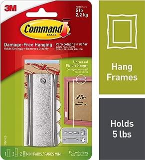 Command Large 5 lb Capacity Universal Frame Hanger, 1 hanger, 2 strips, 2 frame stabilizer strips, Indoor Use (17047-ES)