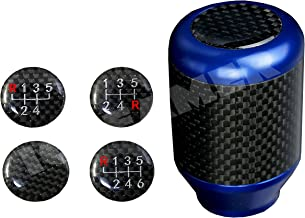 ICBEAMER Racing Style Aluminum Carbon Fiber Tall Manual Shifter Gear Lever Shift Knob 5 6 Speeds Pattern [Blue]