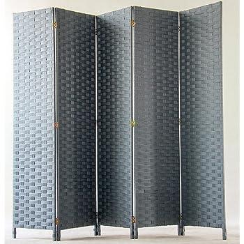 Color Negro Dim PEGANE Biombo de Fibras sint/éticas de 5 Paneles A 170 x A 200 cm