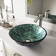 VIGO VG07049 Glass Above counter Round Bathroom Sink, 16.5 x 16.5 x 6 inches, Aqua Blue And Sea Green / Oceania