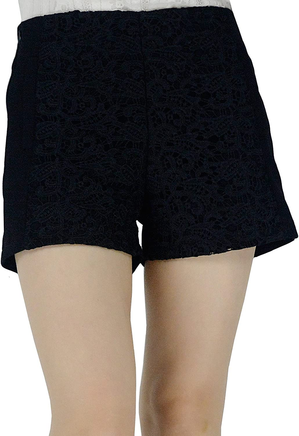 YSJ Women's Embroidered Floral Lace Zipper Closure Mini Shorts 5 Sizes