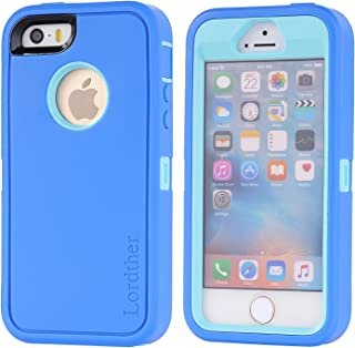 iPhone SE Case, Lordther [ShieldOn Series] [Military Grade Drop Test] Hybrid Synthetic Rubber TPU Covers with [Bonus Screen Protector] Only for iPhone SE 5SE 5 5s (Light Blue)