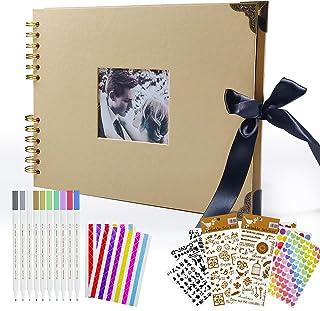 Album photo à concevoir soi-même Livre photo bricolage Album en spirale avec fenêtre ouverte 40 pages noires de papier com...