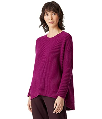 Eileen Fisher Lofty Recycled Cashmere Wool Round Neck Box Top (Jam) Women