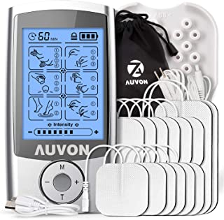 AUVON Rechargeable TENS Unit Muscle Stimulator (Famliy Pack), 3rd Gen TENS Machine with 16 Preset Modes, Pads Holder, 12pcs 2