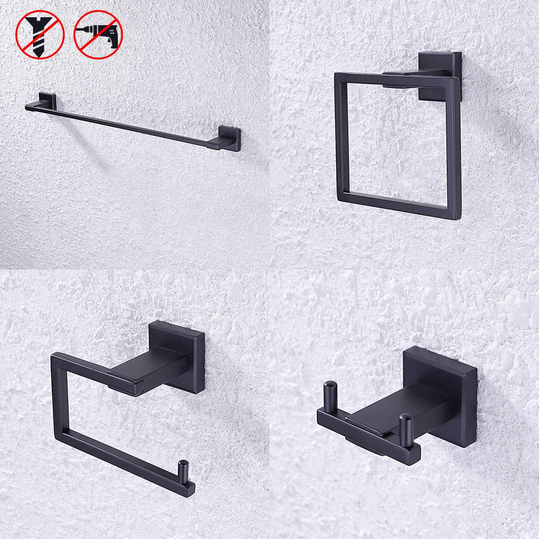 KES SUS 304 Stainless Steel Matte Black 4-Piece Bathroom Accessory Set RUSTPROOF Towel Bar Double Coat Hook Toilet Paper Holder Towel Ring Wall Mount No Drilling Self Adhesive Glue, LA24BKDG-42