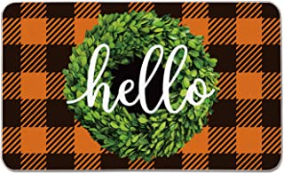 Artoid Mode Hello Boxwood Wreath Decorative Doormat, Seasonal Fall Holiday Buffalo Plaid Low-Profile Floor Mat Switch Mat for Indoor Outdoor 17 x 29 Inch