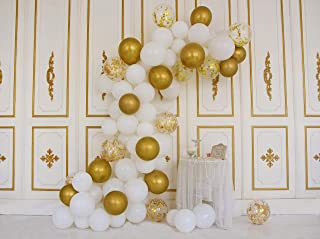 Gold White And Confetti Party Balloons 12 Inches 50 Pack With Decorating Strip Kit Birthday Balloons Kid's Party Latex Balloon-Chrome Gold,White,Gold Confetti Balloon