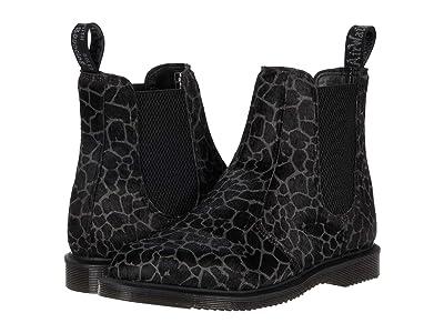 Dr. Martens Flora Giraffe Print Chelsea Boots (Black/Grey Hair On Giraffe) Women