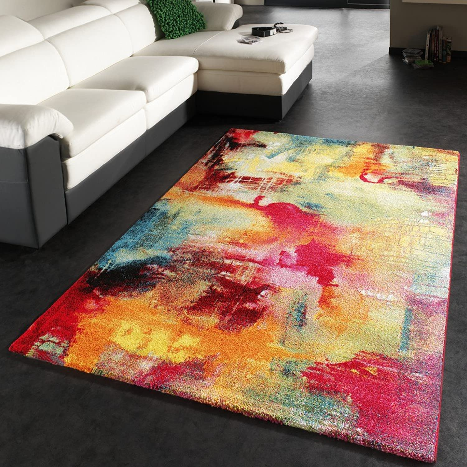 Paco Home Designer Rug Contemporary Textured Canvas Mottled Green bluee Red Yellow, Size 160x230 cm
