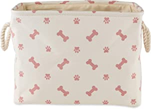 "Bone Dry Paw Print Collapsible Polyester Pet Storage Bin, Rectangle Small - 14 x 8 x 9"", Paws & Bones Rose"