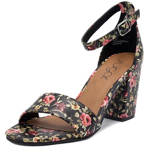 75d4534818a Sugar Women s Noelle Low Two Piece Block Heel Dress Shoe Ladies Ankle Strap  Pump Sandal