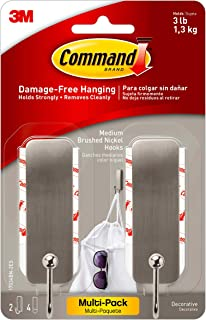 Command Medium Decorative Hooks, Brushed Nickel, 2-Hooks, 4-Strips Per Pack, Decorate Damage-Free