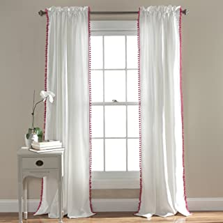 Lush Decor Pom Window Curtain Panel, 84 x 50, Pink
