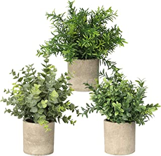 SUNJOYCO 3 Pack Mini Potted Artificial Plants Faux Fake Greenery Eucalyptus Rosemary Plants for Home Office Table Desk Shower Kitchen Shelf Bedroom Bathroom Decoration Indoor Outdoor Decor